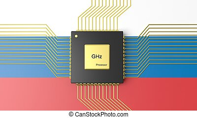 Computer CPU with flag of Russia background