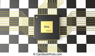 Computer CPU with Formula One flag background