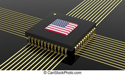 Computer CPU with USA flag isolated on black background