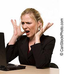 Computer crashing - Attractive blond hair woman wearing...