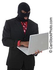 Computer Crime - A conceptual business man computer crime...