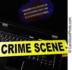 Computer crime print - digital fingerprint on a laptop with...