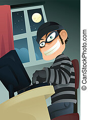 A vector illustration of computer criminal stealing identity