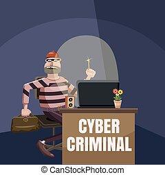 Computer criminal spy concept, cartoon style