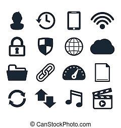 computer, cruscotto, icone