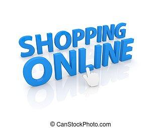 Computer cursor clicks on the inscription online shopping.