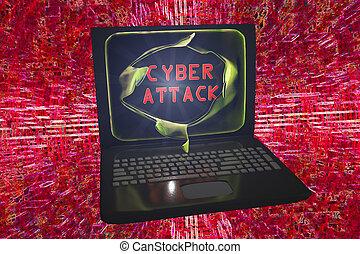 Computer cyber attack, conceptual image