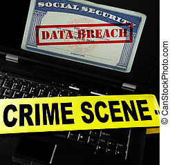 Computer data breach - Data Breach text on Social Security...