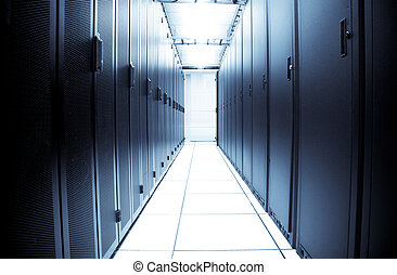 Computer data center - An interior shot of a computer data...