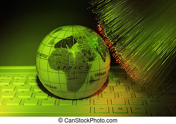 computer data concept with earth globe against fiber optic background
