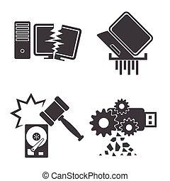 Computer Data Damaged icons set