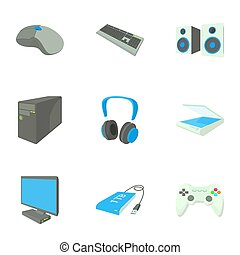 Computer data icons set, cartoon style