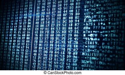 computer data on screen loop background