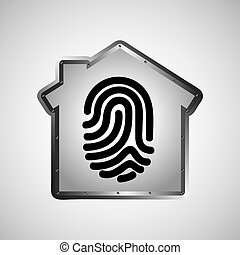 computer data protection fingerprint graphic vector...