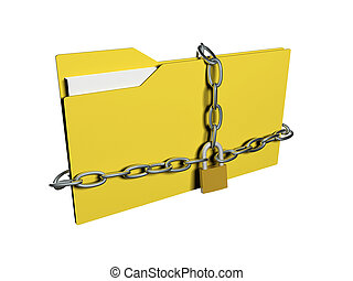 Computer data security concept. Computer folder with with chain and padlock.