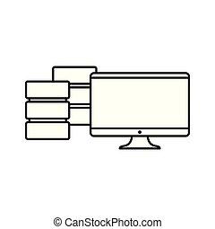 computer database server on white background