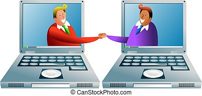 computer deal - two business men doing a deal through...