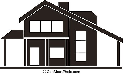cottage, house - computer design, cartoon, vector,...