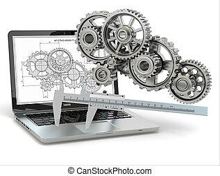 computer-design, engineering., 齿轮, 笔记本电脑, trammel, draft.