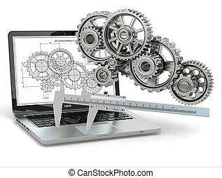 Computer-design engineering. Laptop, gear, trammel and draft. 3d