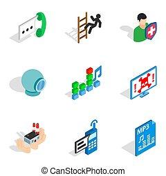 Computer designer icons set, isometric style