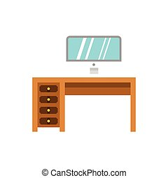 Computer desk icon, flat style