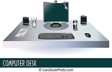 Computer desk - Illustration of a computer on a desk.