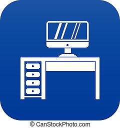 Computer desk, workplace icon digital blue
