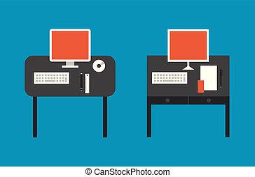 computer, desktop, plat, illustratie