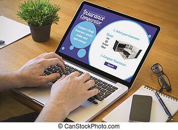 computer, desktop, verzekering, comparator, website