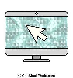 computer desktop with arrow mouse