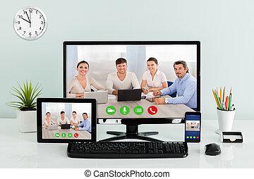 Computer Desktop With Digital Tablet And Mobilephone On Desk
