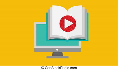 computer desktop with ebook technology , hd video animation