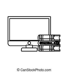 computer desktop with ebooks isolated icon