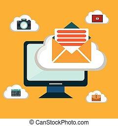 Computer device data cloud storage security flat design vector illustration
