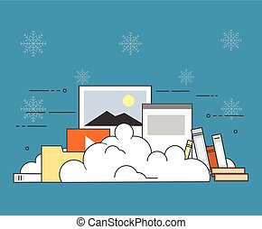 Computer device data cloud storage security flat design vector illustration on winter background