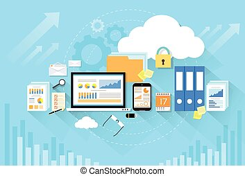 Computer device data cloud storage security flat design...