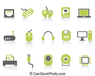 computer device icons set ,green series