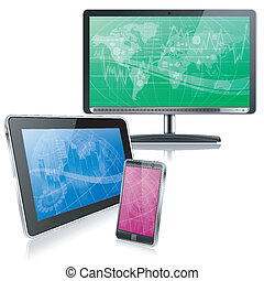 Computer Devices - Set of Computer Devices - Monitor, Tablet...