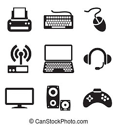 set vector computer icons of computer devices