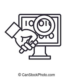 computer diagnostics concept vector thin line icon, symbol, sign, illustration on isolated background