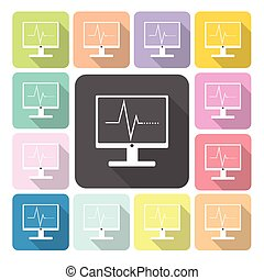 Computer diagram Icon color set vector illustration
