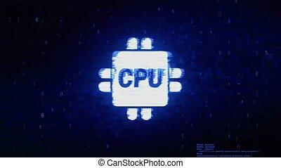 Computer Digital CPU Symbol Digital Pixel Noise Error...