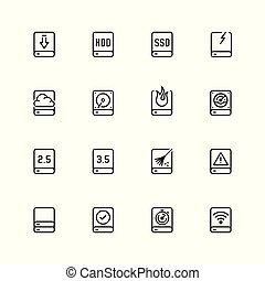 Computer disk vector icon set in outline style