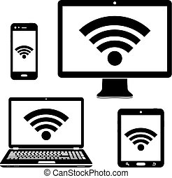 Computer display, laptop, tablet and smartphone icons with wifi internet connection symbol