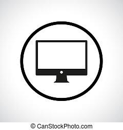 Computer display symbol in a circle.