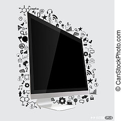 Computer display with application icon Vector illustration.