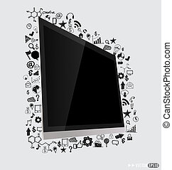 Computer display with application icon. Vector illustration.