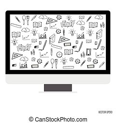 Computer display with application icons. Vector illustration