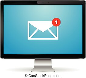 Computer display with email letter on screen